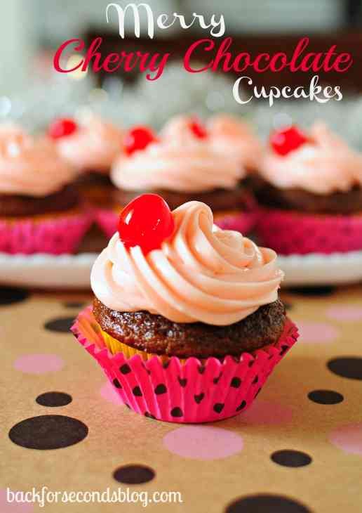 Merry Cherry Chocolate Cupcakes by Back For Seconds https://backforseconds.com #christmas #cupcakes