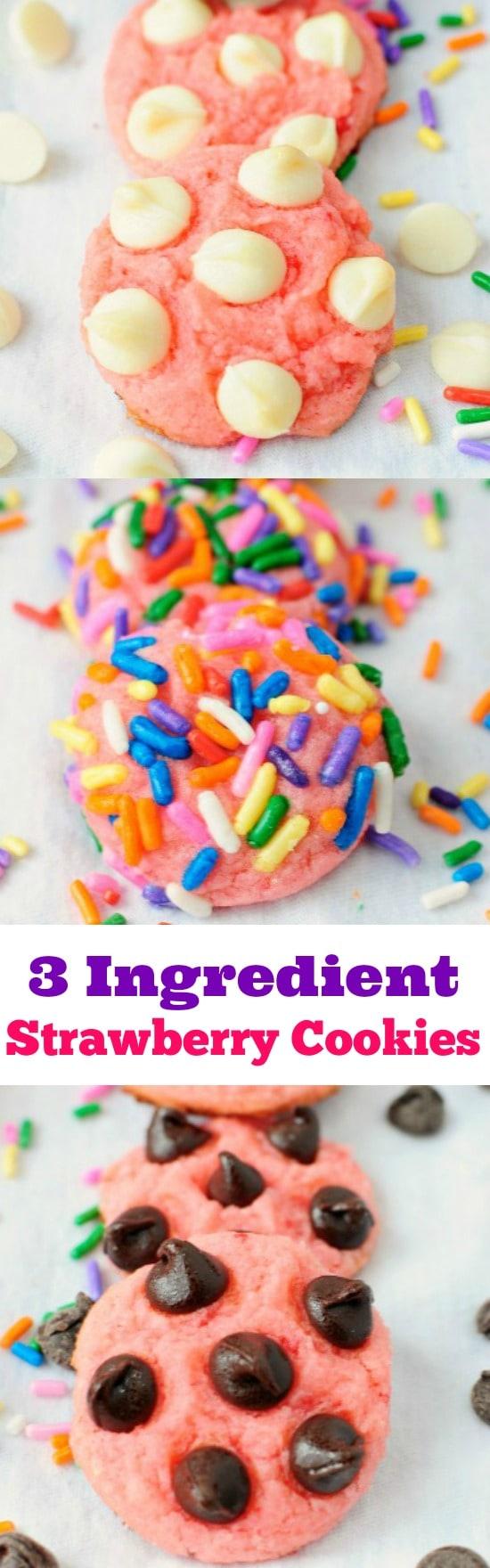 3 Ingredient Strawberry Cookies