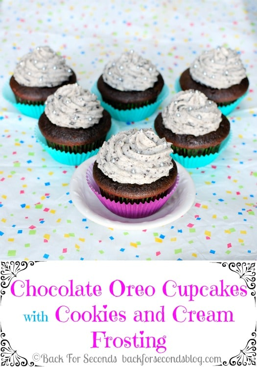 Chocolate Oreo Cupcakes with Oreo Frosting! https://backforseconds.com  #recipe #cupcake #chocolate #oreo #frosting
