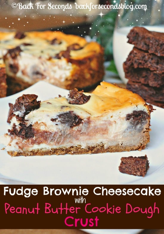 Brownie Stuffed Cheesecake with Peanut Butter Cookie Dough Crust!! https://backforseconds.com  #cheesecake #recipe #brownies #peanutbuttercookie