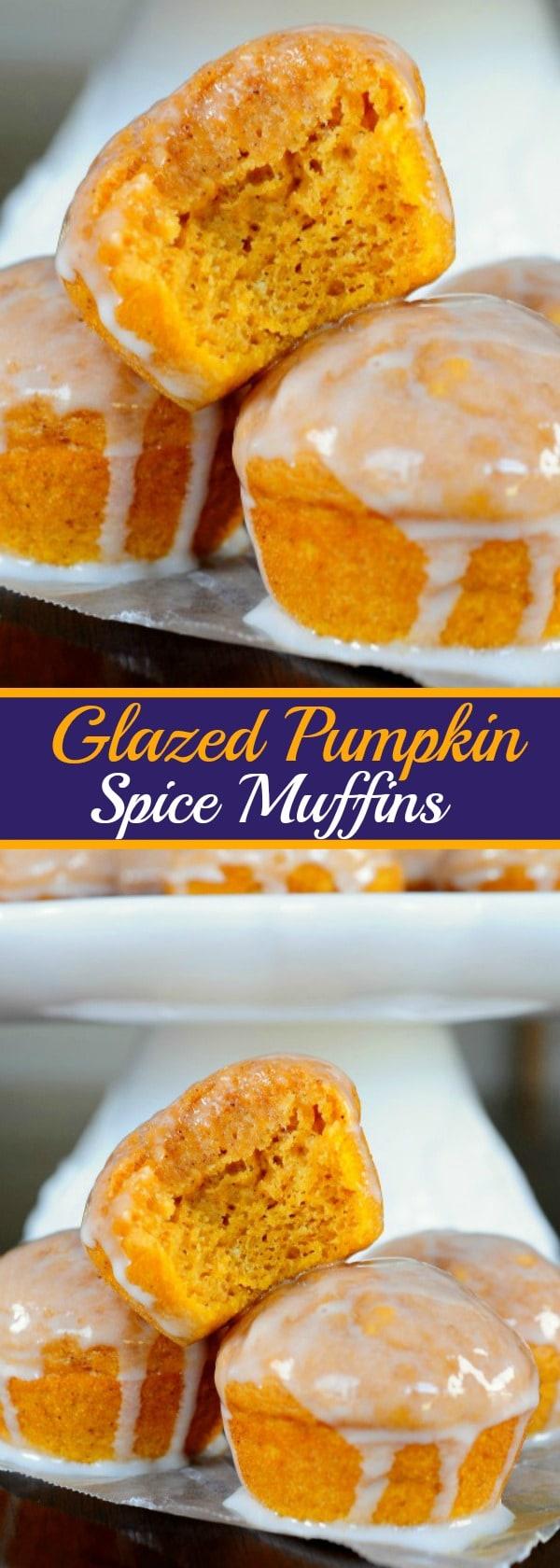 Glazed Pumpkin Spice Muffins - Perfect cozy, fall breakfast!