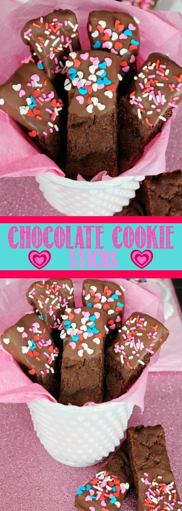 Valentine's Day Chocolate Dipped Cookie Sticks!