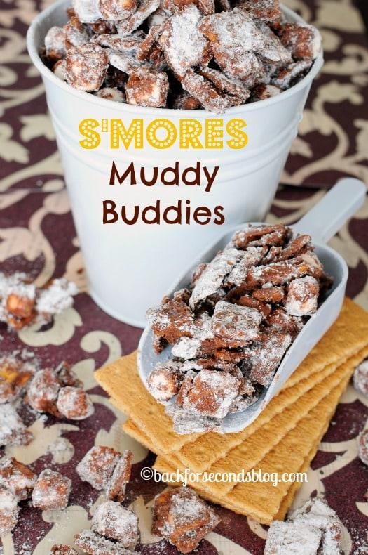 Smores Muddy Buddies - The most delicious and addictive snack ever! #muddybuddies #smores #dessert