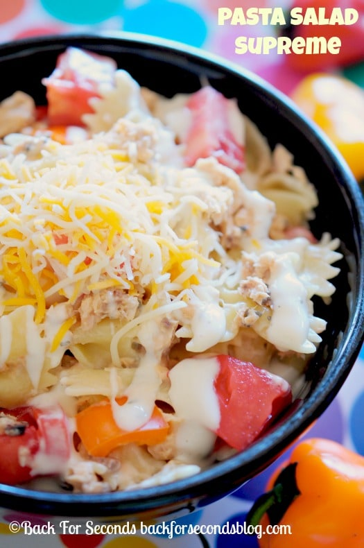 Creamy Pasta Salad Supreme- Perfect light meal or side dish for summertime!  #pasta #easymeal #salad