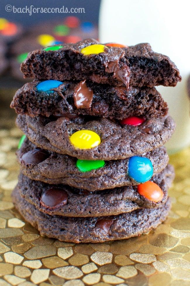 Chewy Brownie M&M Cookies