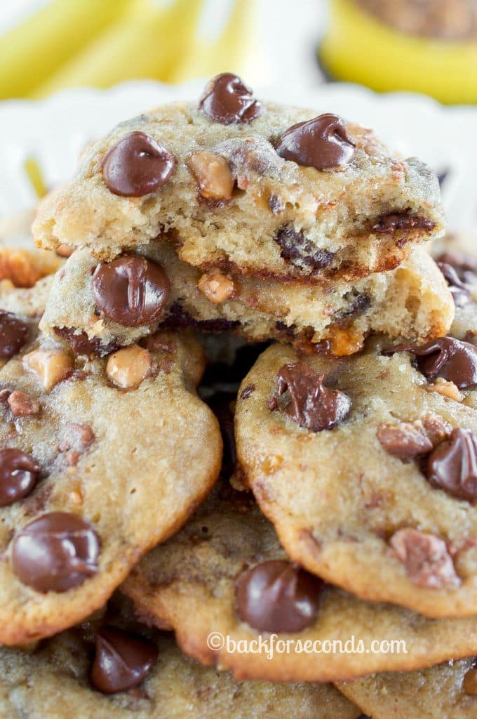 Outrageous Banana Toffee Chocolate Chip Cookies