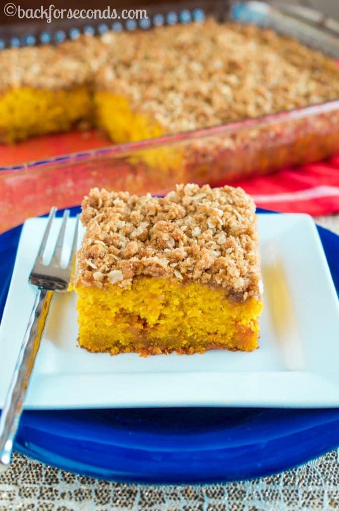 Butterscotch Pumpkin Coffee Cake with Peanut Butter Streusel