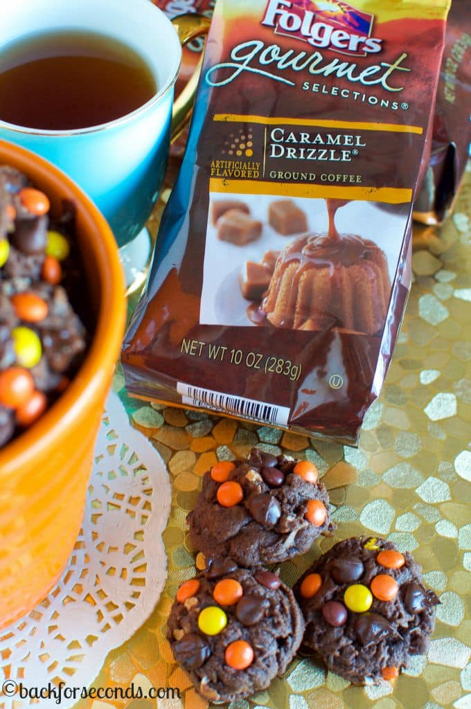 Thick, Soft, and Chewy Chocolate Cookies with Reese's Pieces and Coconut! Great with a hot cup of coffee!