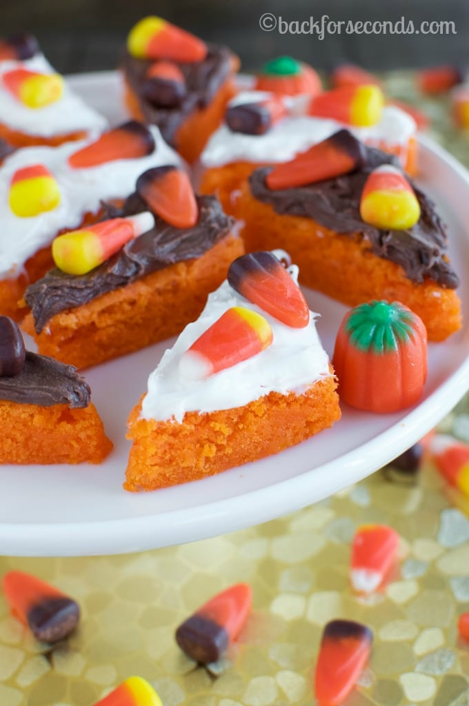 Easy Frosted Candy Corn Cookie Bars