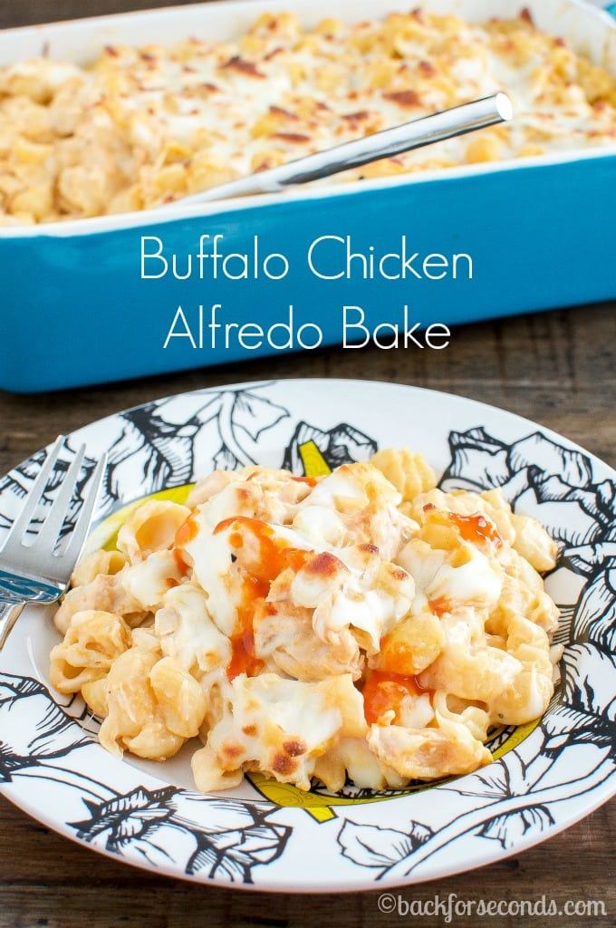 Easy Buffalo Chicken Alfredo Bake!