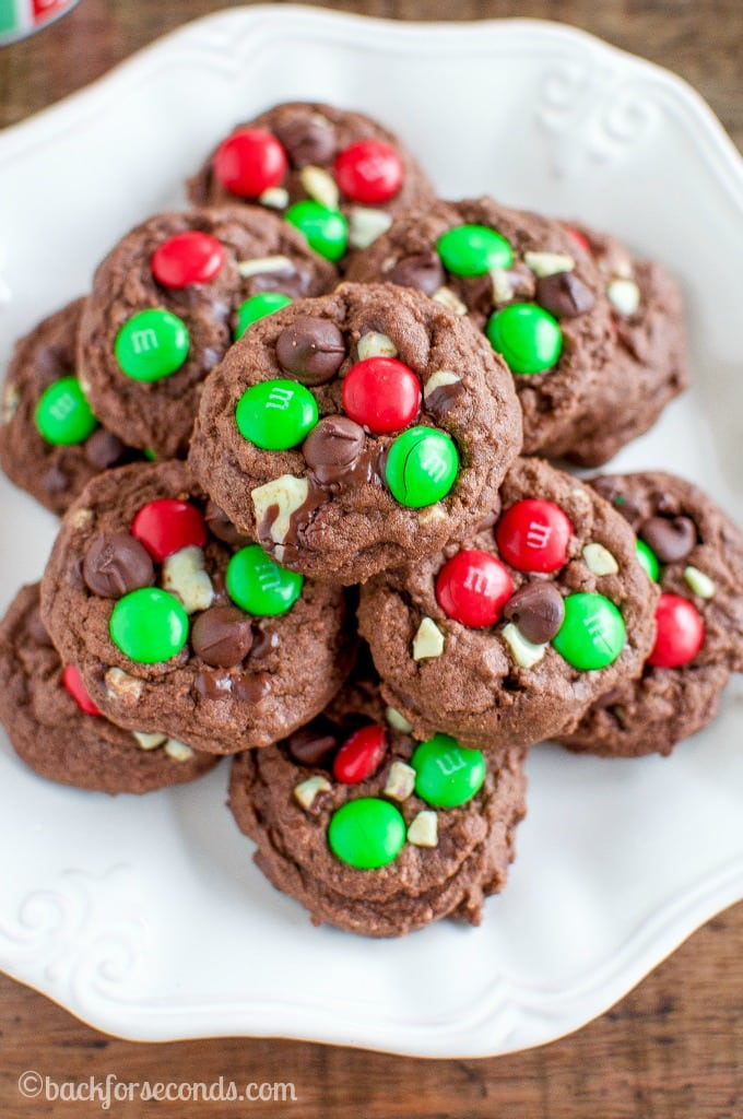 Chocolate Mint M&M Christmas Cookies