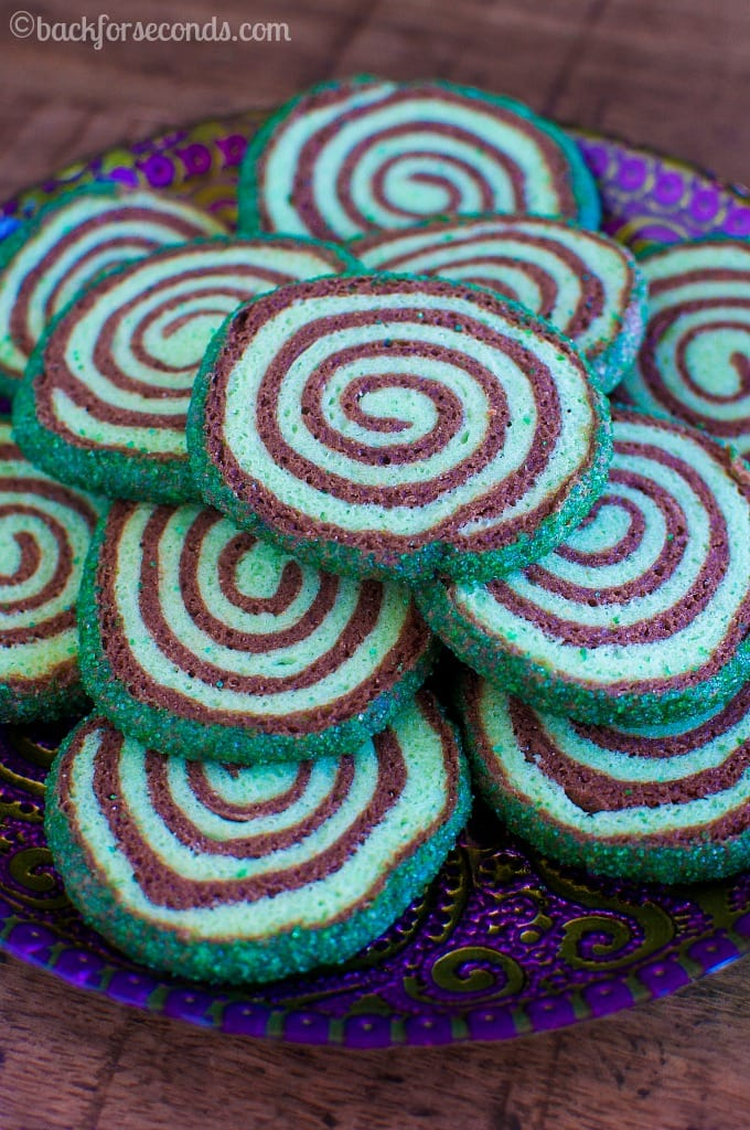 Mint Chocolate Spiral Pinwheel Cookies