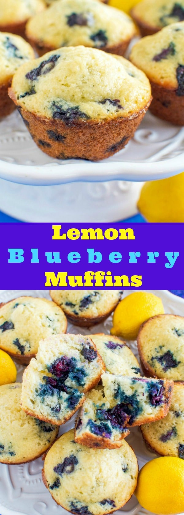 Bakery Style Lemon Blueberry Muffins - Light and fluffy with a sugar crust!