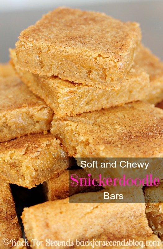 Cinnamon and sugar collide in these Soft and Chewy Snickerdoodle Bars. One bite and you'll be hooked! Perfectly chewy with a crisp sugar crackle on top.