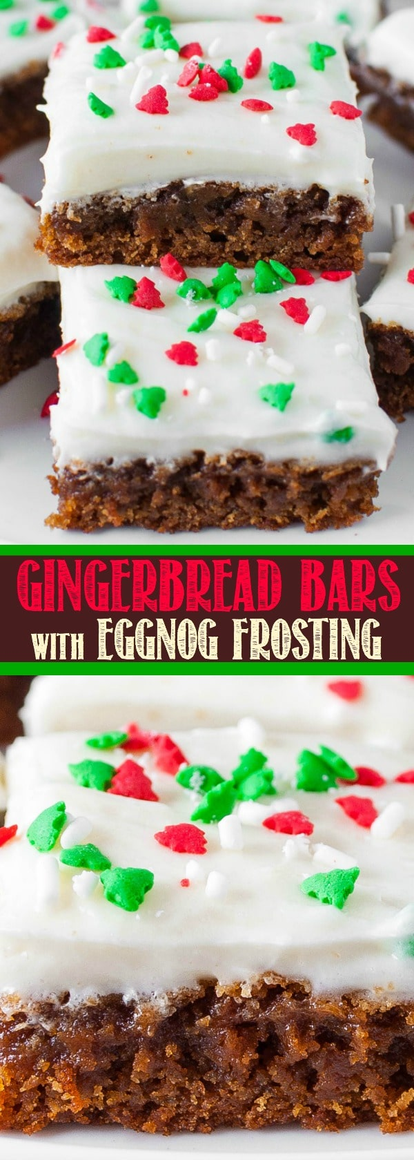 Soft and Chewy Gingerbread Bars with Eggnog Cream Cheese Frosting! And easy Christmas dessert recipe everyone loves!