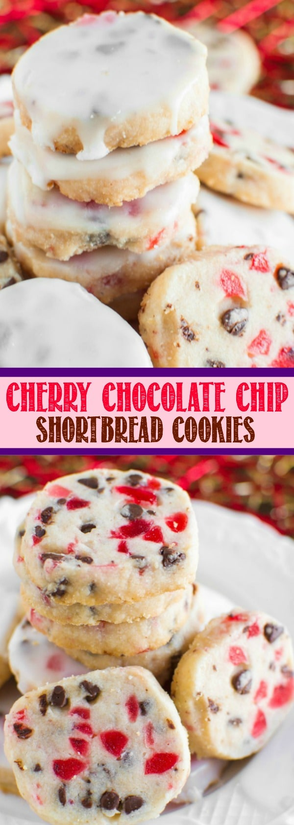 INCREDIBLE Glazed Cherry Chocolate Chip Shortbread Cookies
