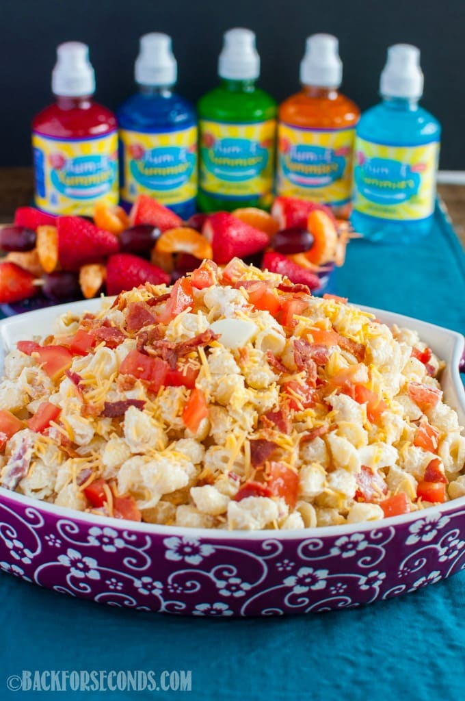 This is The BEST Creamy Pasta Salad ever, loaded with bacon and cheese! The perfect side dish for spring and summer, and great for potlucks and cookouts!