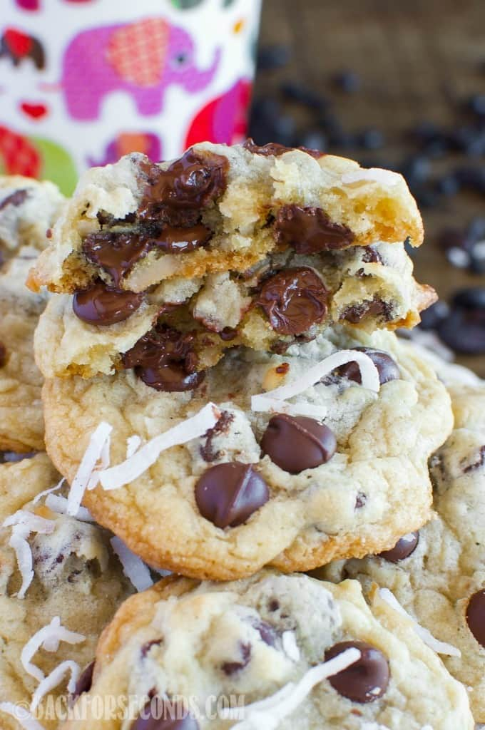 These soft and chewy Coconut Chocolate Chip Cookies are a fun, tropical twist on everyone's favorite cookie! They pair beautifully with a good cup of coffee.