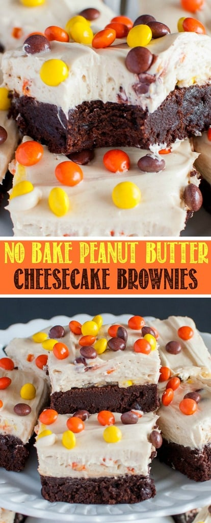 Reese's Pieces Peanut Butter Cheesecake Brownies collage photo
