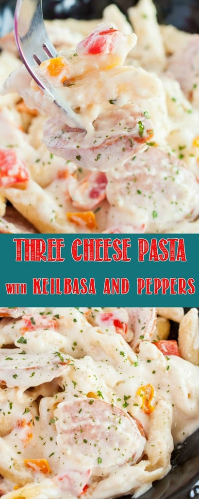 Three Cheese Pasta with Kielbasa and Peppers is a super simple, ultra delicious, 30 minute meal that will make dinner time a breeze on those busy weeknights #dinner #pasta #cheese