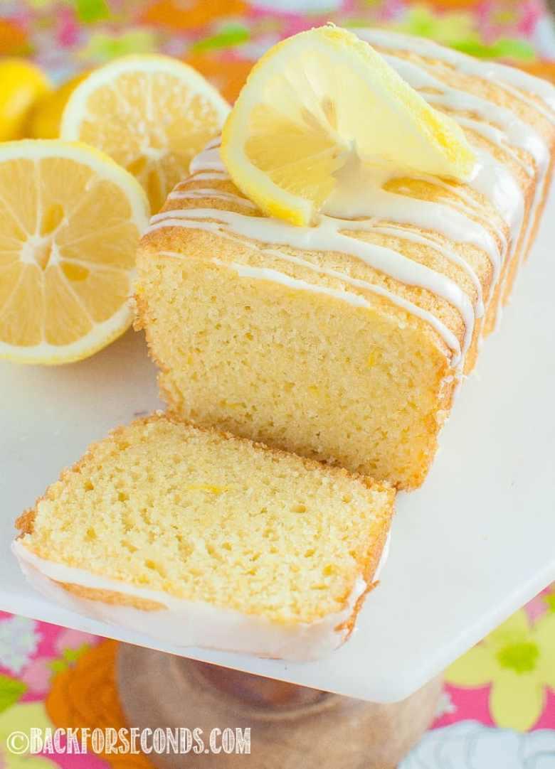 Best Glazed Lemon Loaf side view