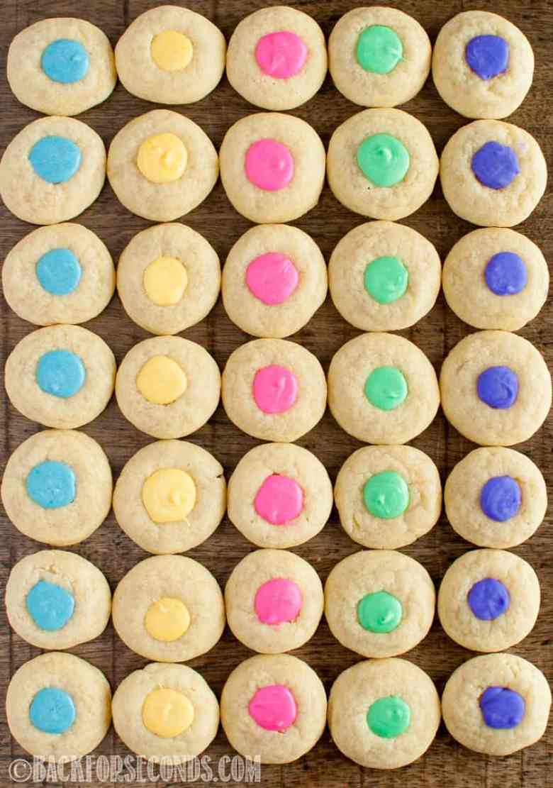 Easter Thumbprint Cookies in rows