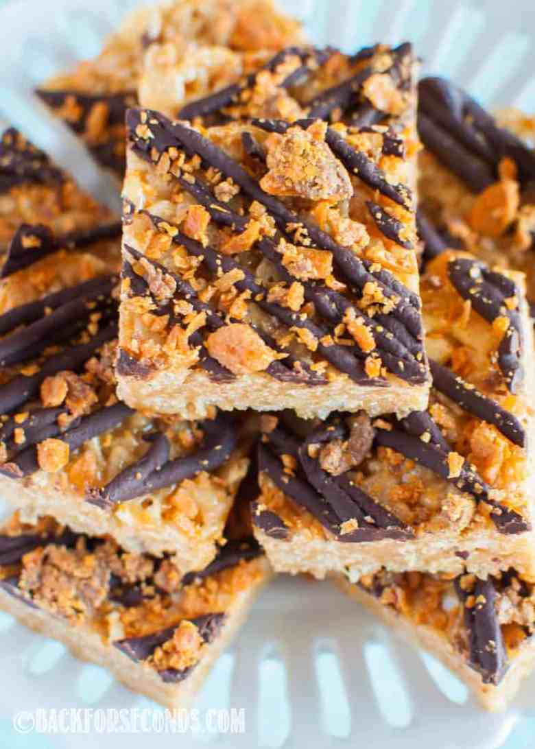 Butterfinger Rice Krispie Treats top view close up