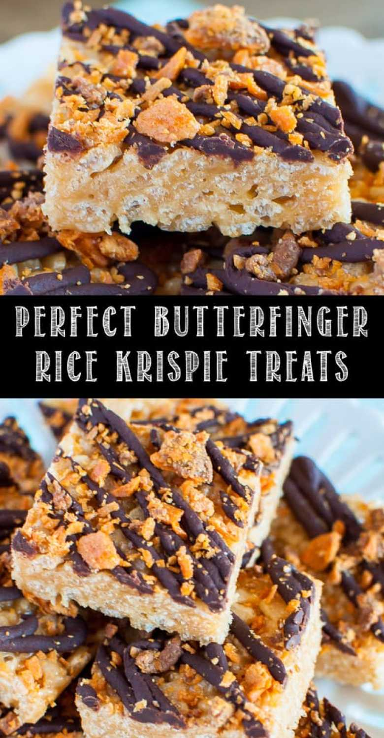 Butterfinger Rice Krispie Treats collage images