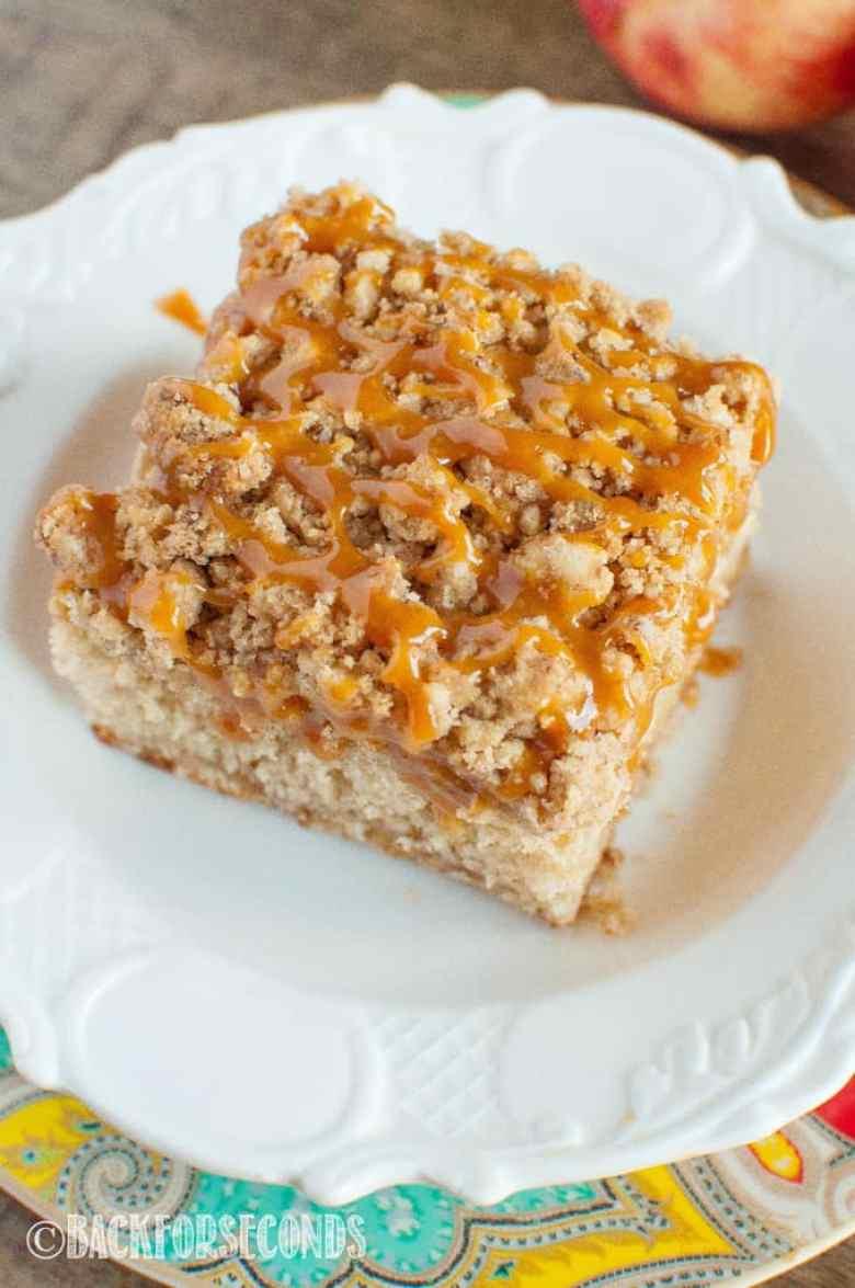 Caramel Apple Crumb Cake slice on white plate