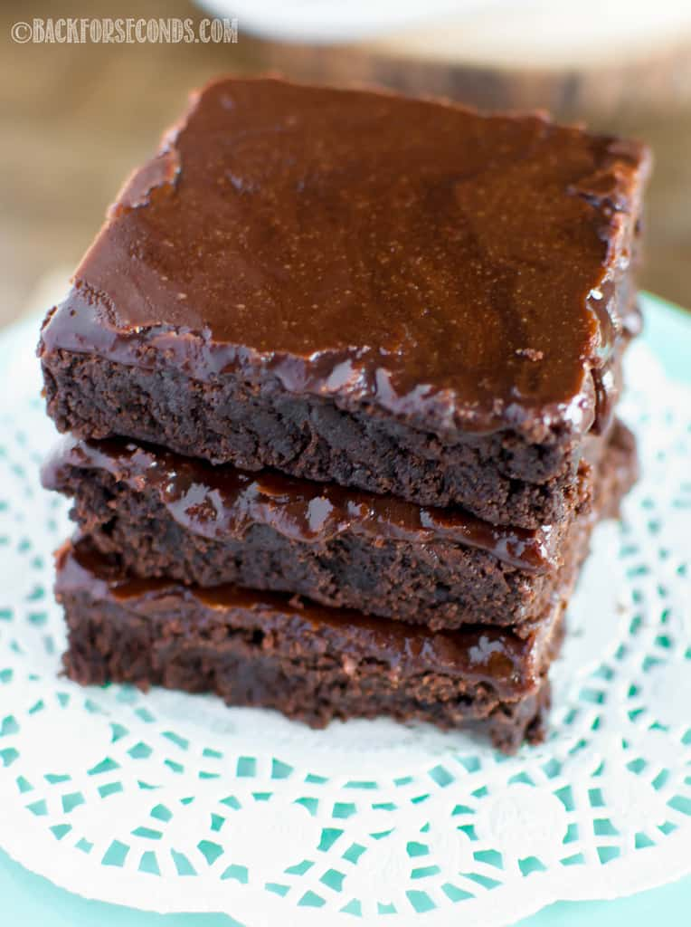 overhead shot of stacked Old Fashioned Brownies with Cooked Fudge Frosting