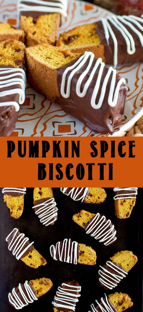 collage photo of Pumpkin Spice Biscotti on cookie sheet on thanksgiving plate