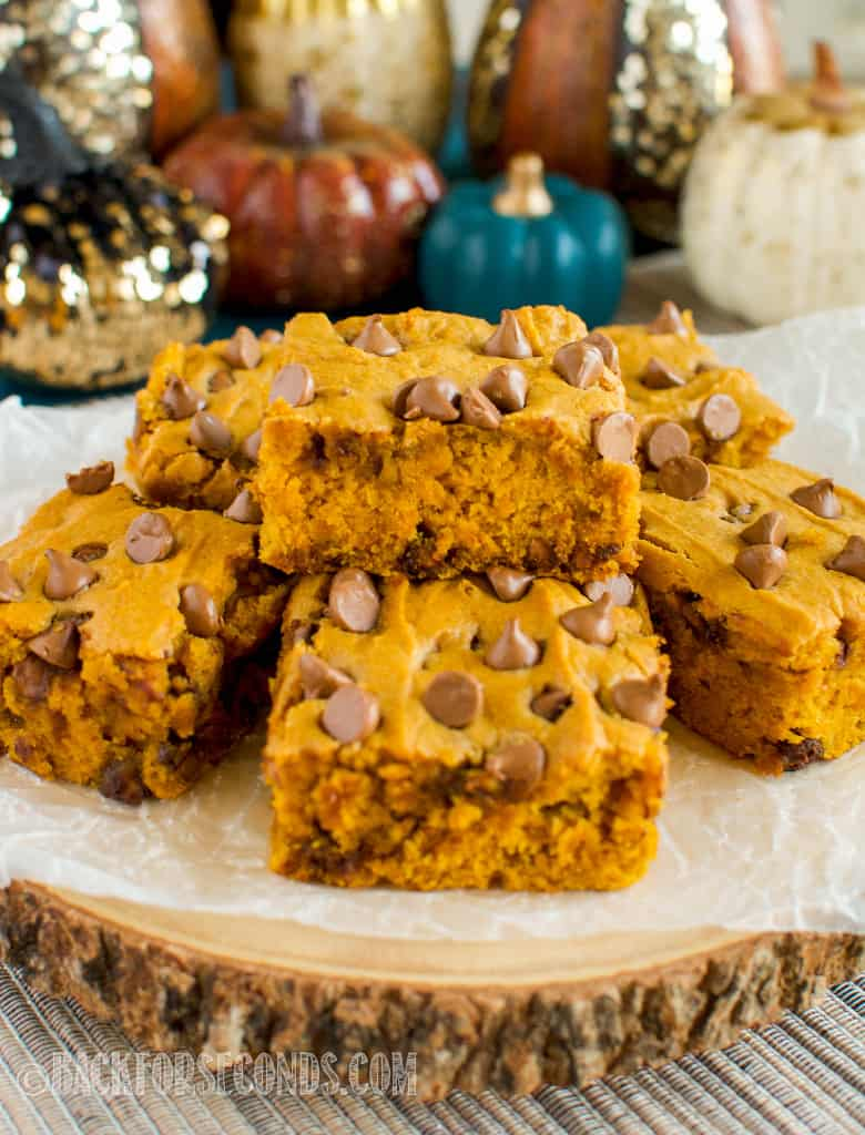 Chocolate Chip Pumpkin Bars with fall decor
