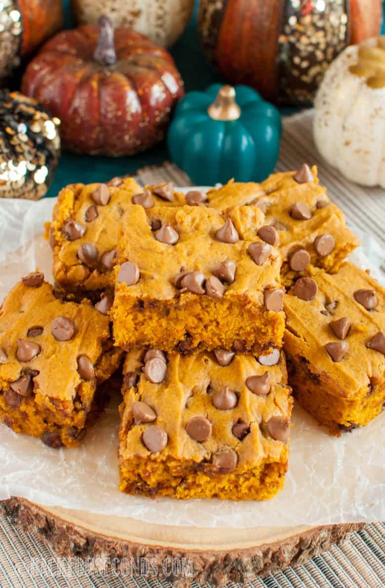 Chocolate Chip Pumpkin Bars and decorative pumpkins