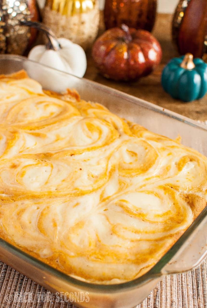 Pumpkin Cheesecake Swirl Bars in a pan