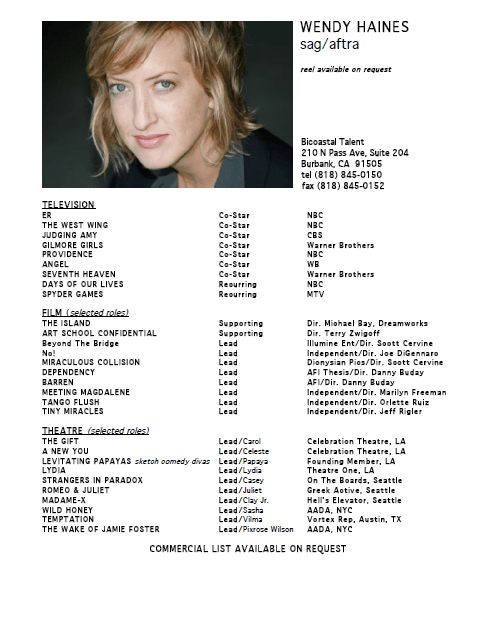 Business Of Acting Actor Resume Bgrated Background Rated Talent