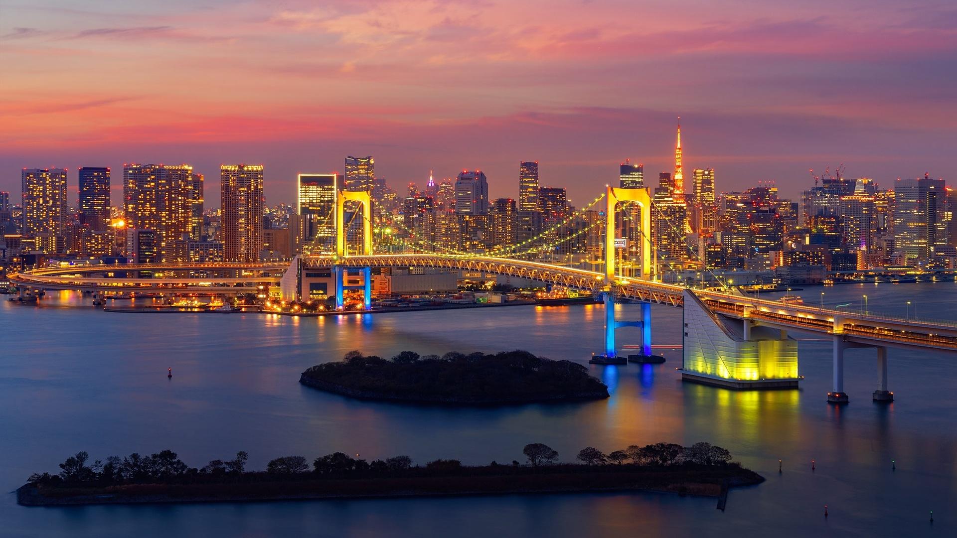 Rainbow Bridge At Evening Japan Hd Wallpaper
