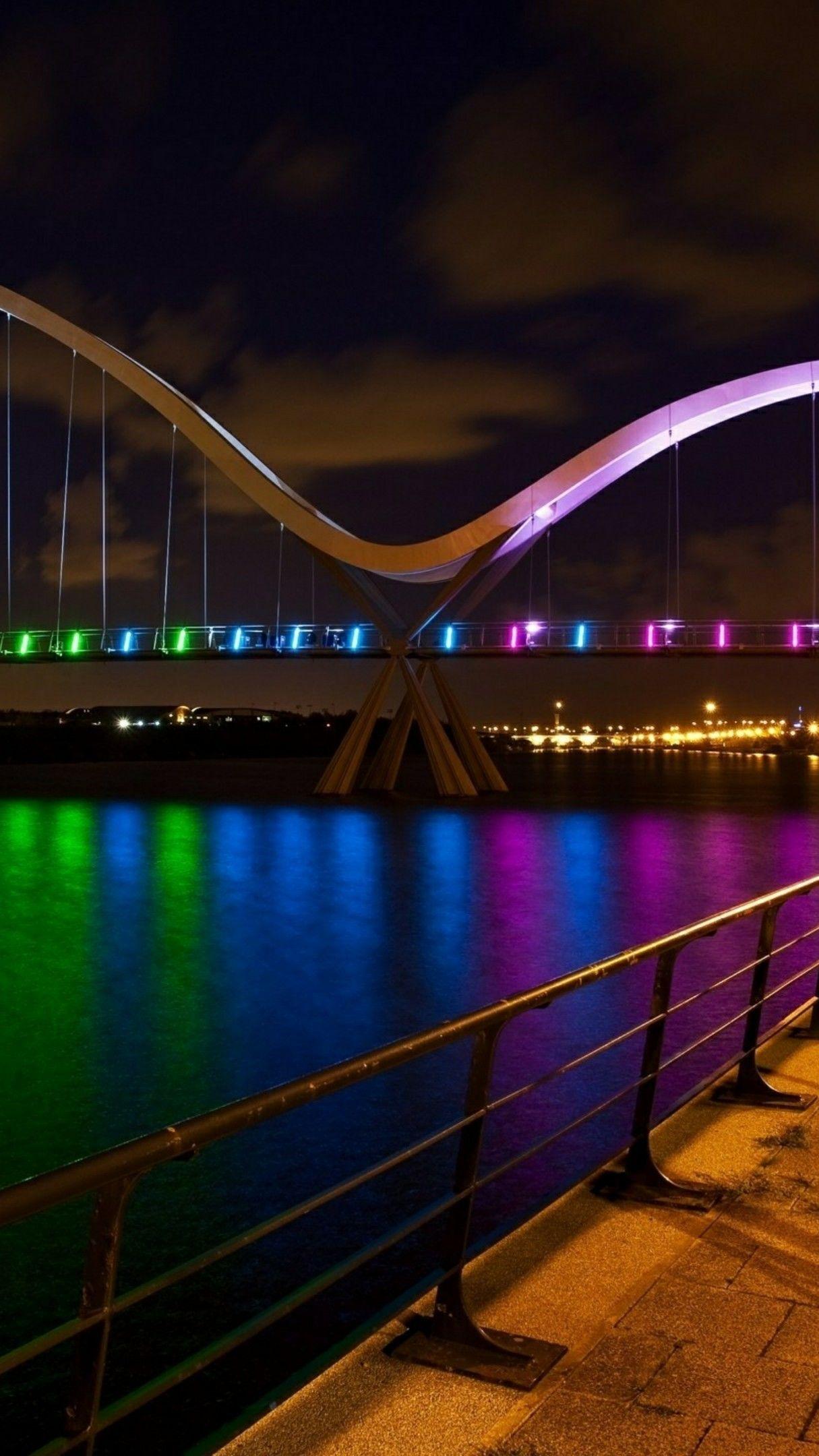 Rainbow Colored Infinity Bridge Over River Tees 4k Ultrahd