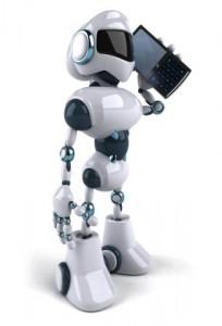 Robot on phone