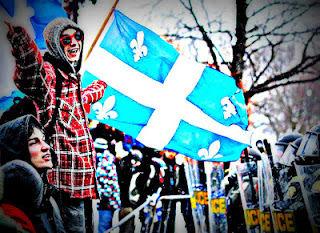 Image: Quebec students with fleur-de-lis flag