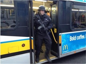 Boston SWAT team member on bus