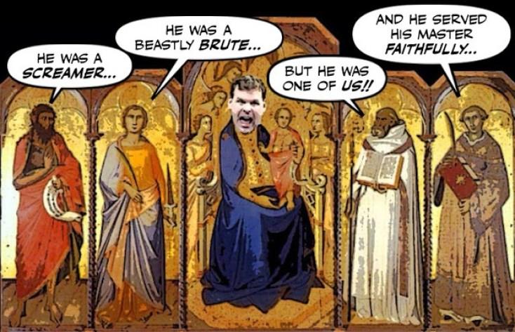 Political cartoon: John Baird canonization