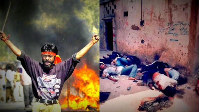 Rioter and dead bodies in Gujurat
