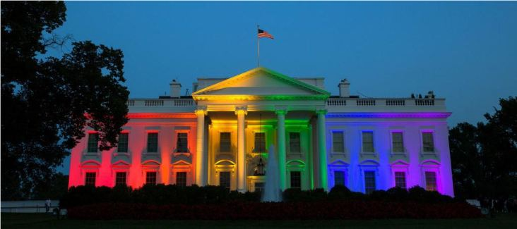 White House in rainbow colours
