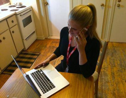 Katrina on the phone