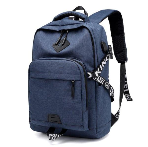 Laptop Backpack USB Charge for Teenagers Backpack Blue