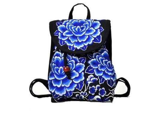 Embroidered Women backpack with embroidered shoulders Backpack Blue white S