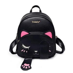 Cute cat backpack for Teenage Girls Backpack Black