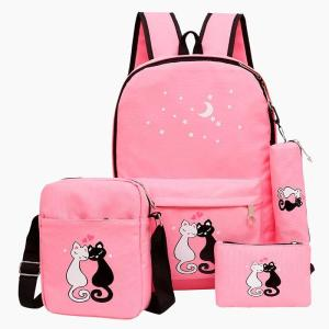 4pcs/set Cute Cats Canvas School Backpack Backpack Pink