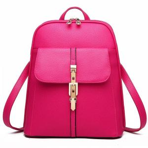All seasons Fashion Women Backpack Backpack Hot pink
