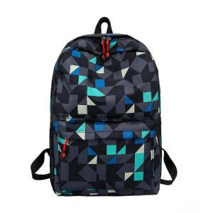 Fashion geometric print School backpack Backpack Gray